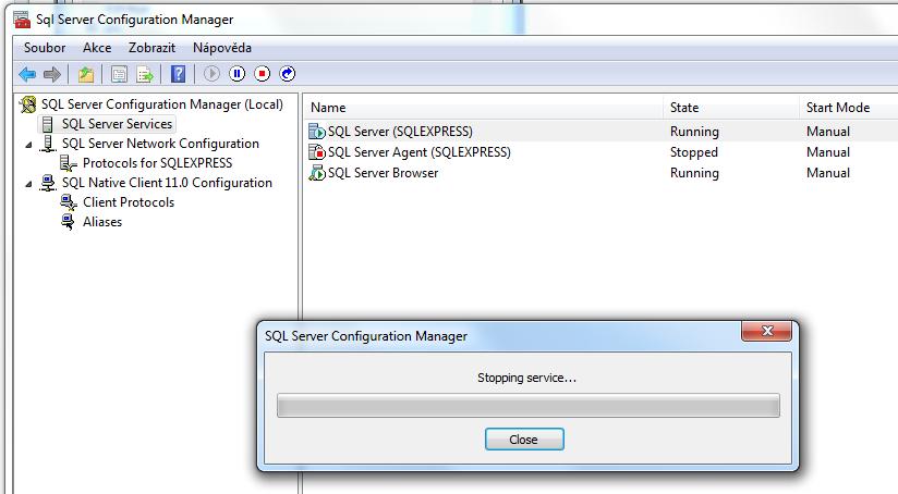 Restarting MS SQL service